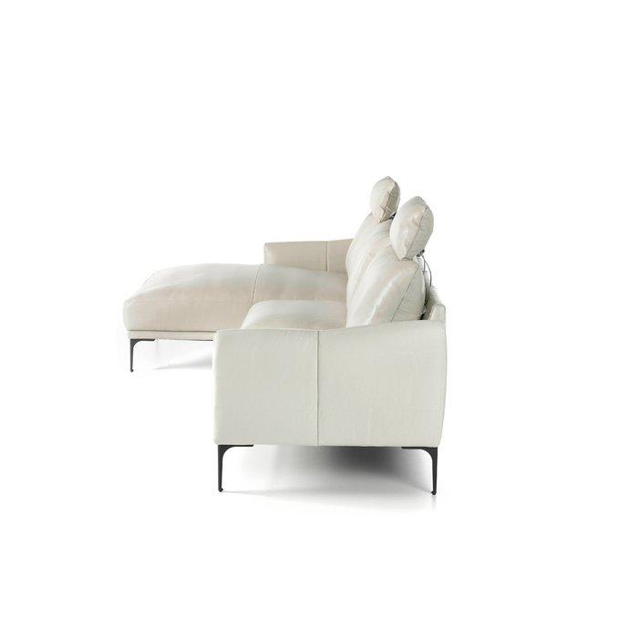 Кожаный диван со съемным подголовником