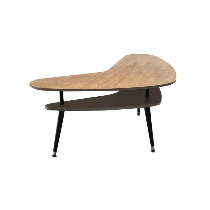 Журнальный столик Бумеранг с полкой темно-коричневого цвета