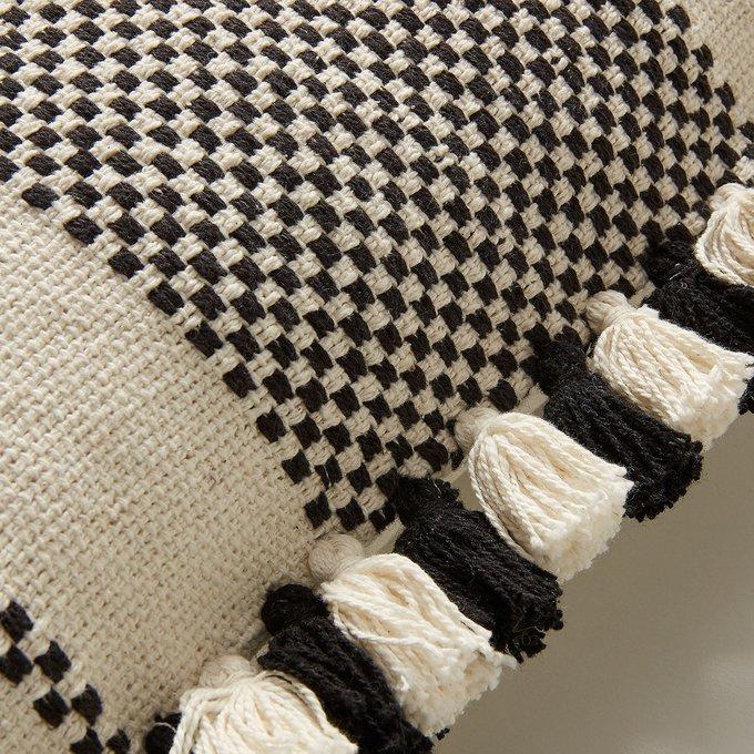 Чехол на подушку Bottom черно-белого цвета