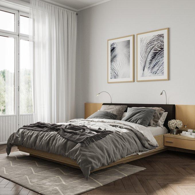 Двуспальная кровать с верхней подсветкой Элеонора 180х200