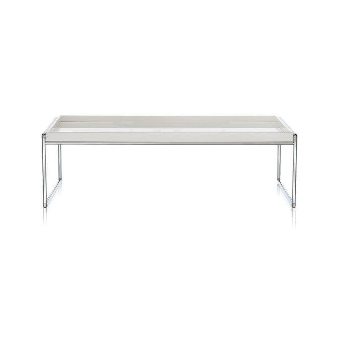 Журнальный столик Trays глянцево-белого цвета большой