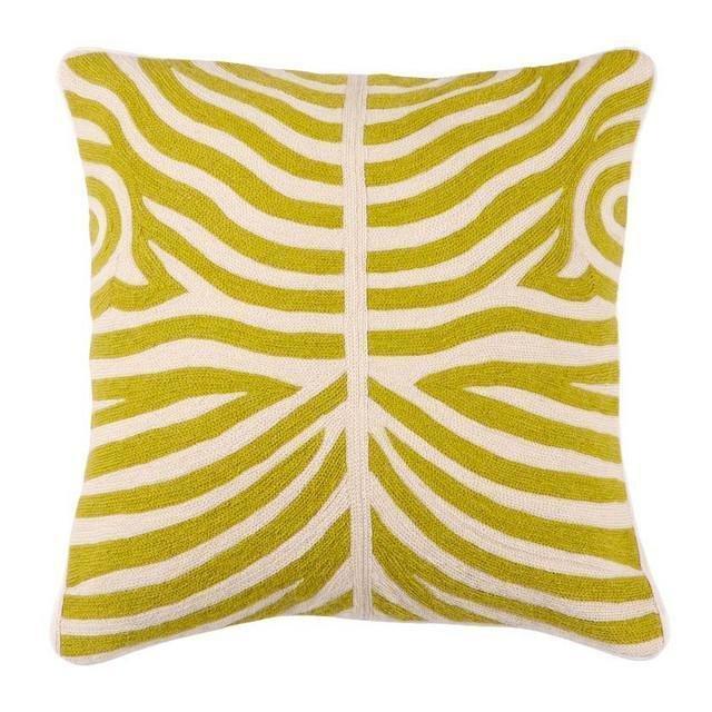 Подушка  Zebra Lime бежего-зеленого цвета