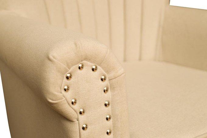 Кресло бежевое мягкое в отделке из ткани