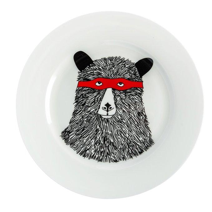 Большая тарелка Мишка в маске из керамики