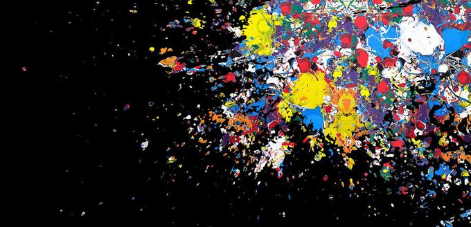 Картина (репродукция, постер): Барселона, оптимистическая абстракция на черном