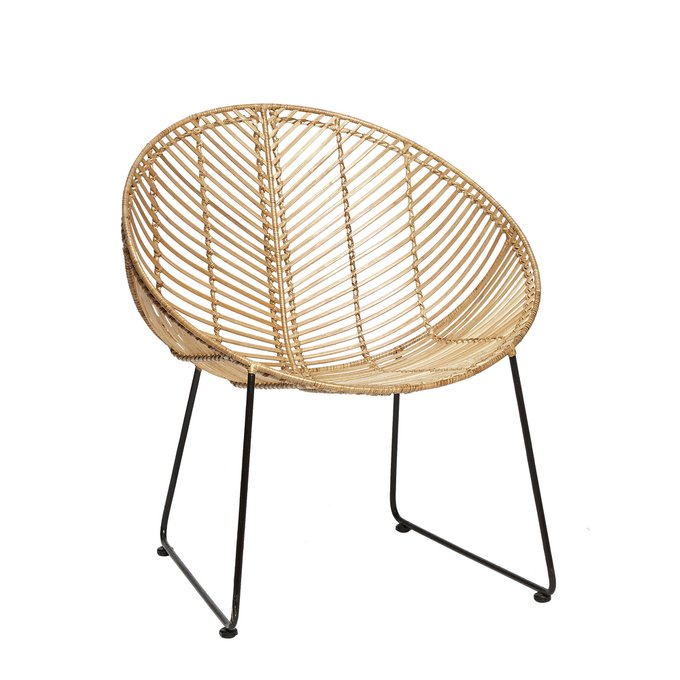 Круглое кресло из ротанга и метала