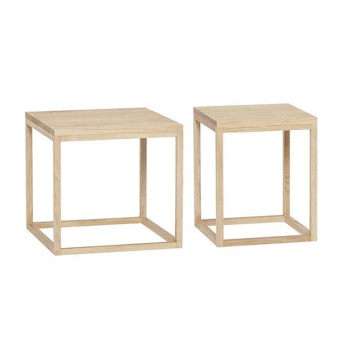 Набор из двух столиков из натурального дерева
