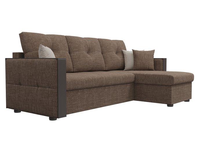 Угловой диван-кровать Валенсия коричневого цвета