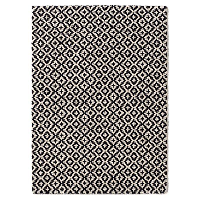 Ковер Nevio шерстяной ворсистый черно-белого цвета 120x170