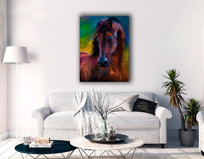 Картина на дереве Лошадь Акварель 60х40