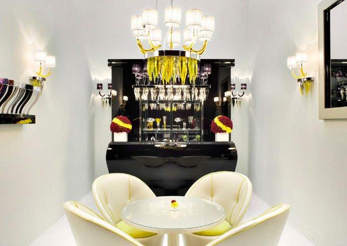 Подвесная люстра Beby Group chrome lemon с фигурками из муранского стекла лимонного цвета