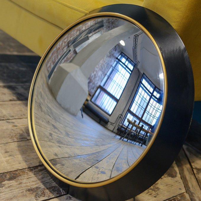 Декоративное настенное зеркало Морган М (fish-eye) в раме черно-золотистого цвета