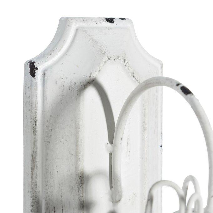Вешалка настенная из металла белого цвета