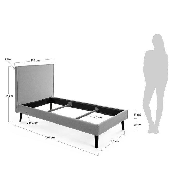 Кровать Этель серого цвета 90х190