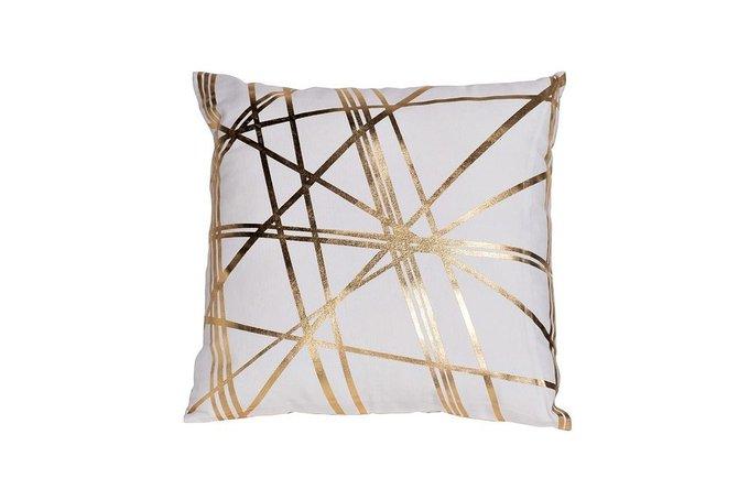 Подушка квадратная Золотые линии из хлопкового полотна