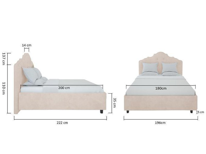 Кровать Palace Велюр Серый 180x200