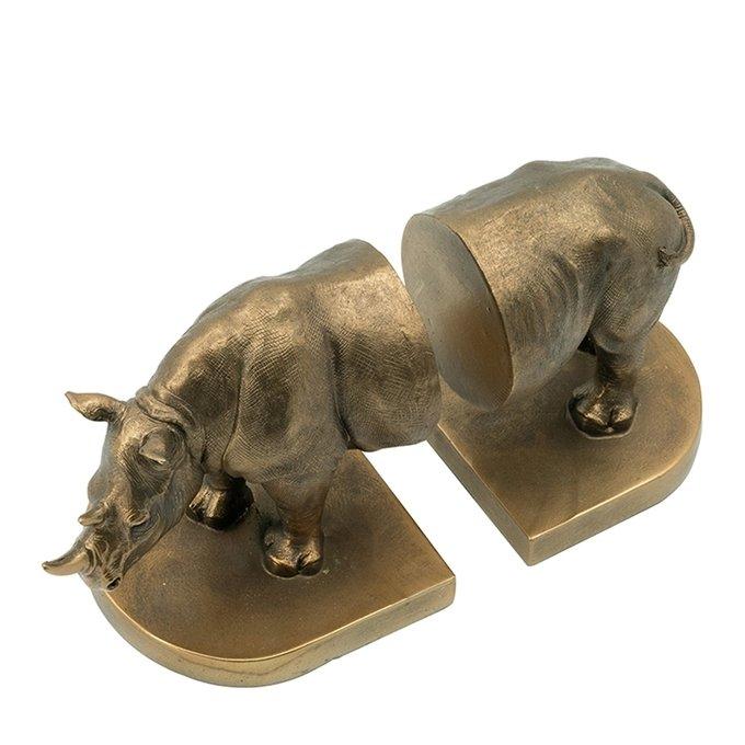 Держатели для книг Носорог бронзового цвета