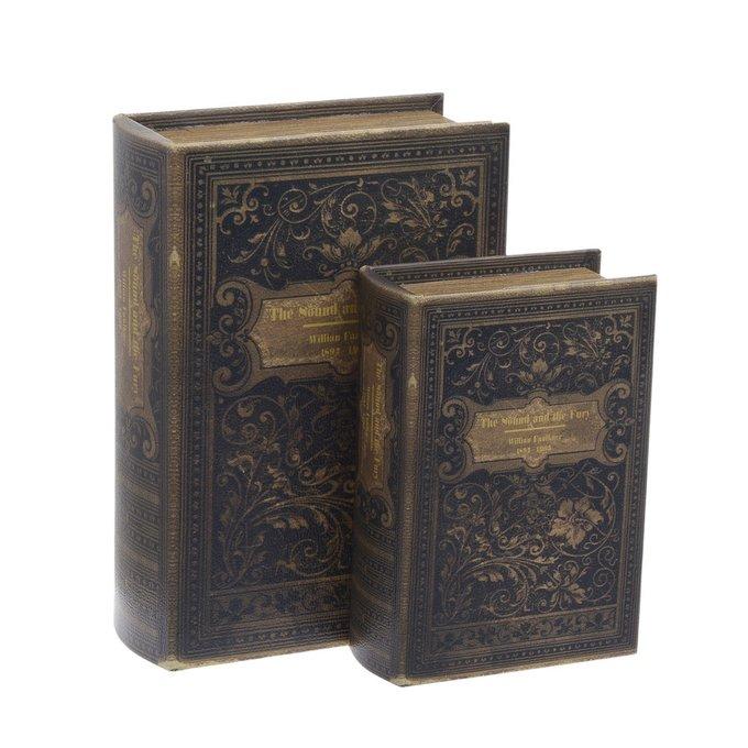 Набор из двух Шкатулок-книг из дерева и кожа
