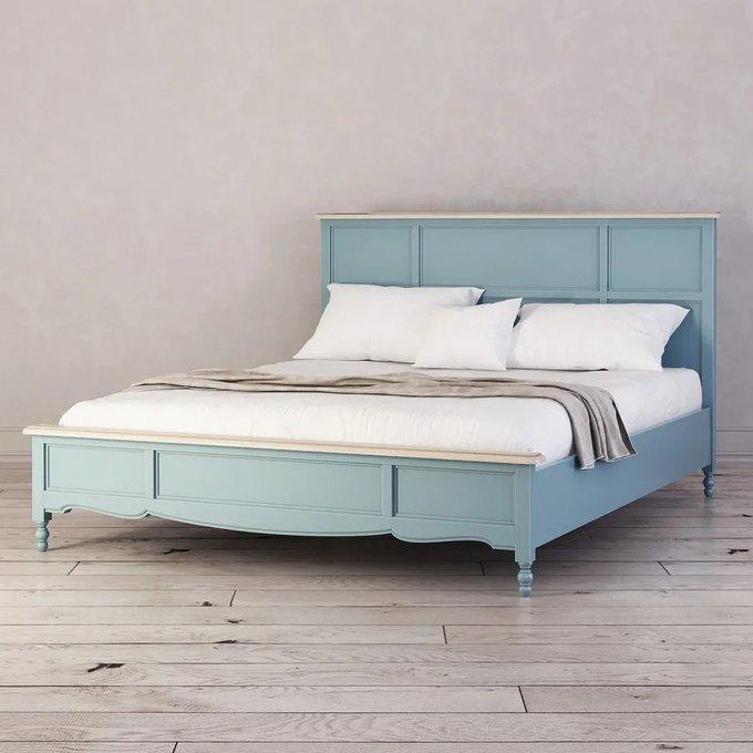 Кровать двуспальная Leblanc голубого цвета 180х200