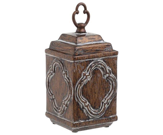 Керамическая ваза с крышкой коричневого цвета