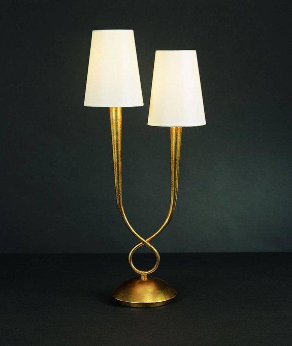 Настольная лампа Mantra Paola Painted Gold с белыми абажурами