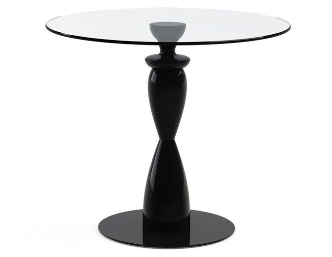 """Обеденный стол """"CANTALESO Black"""" с круглой столешницей из закаленного стекла"""