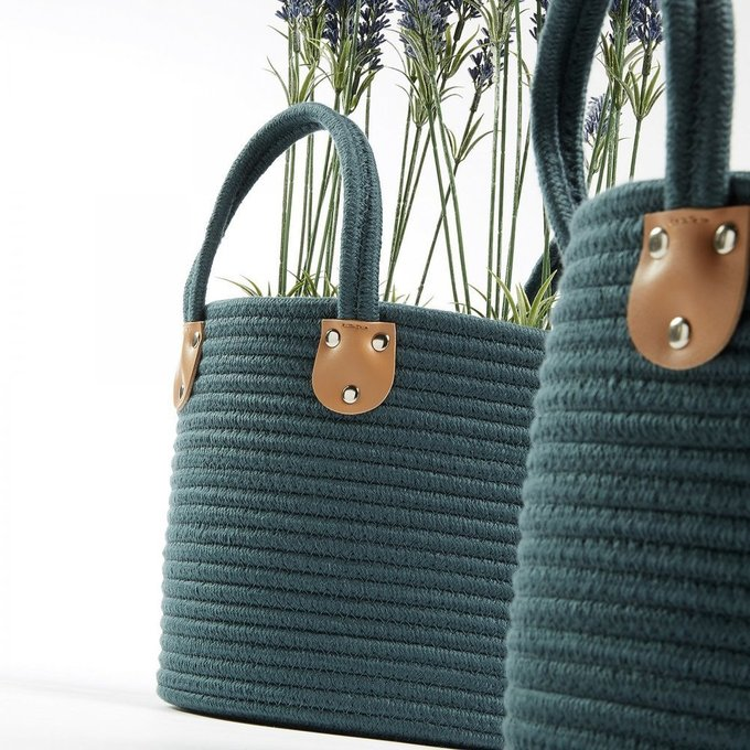 Набор из трех корзин Bowe темно-зеленого цвета