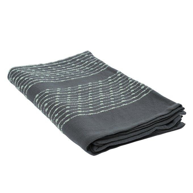 Покрывало Ethnic из хлопка серого цвета с декоративной строчкой 180х250