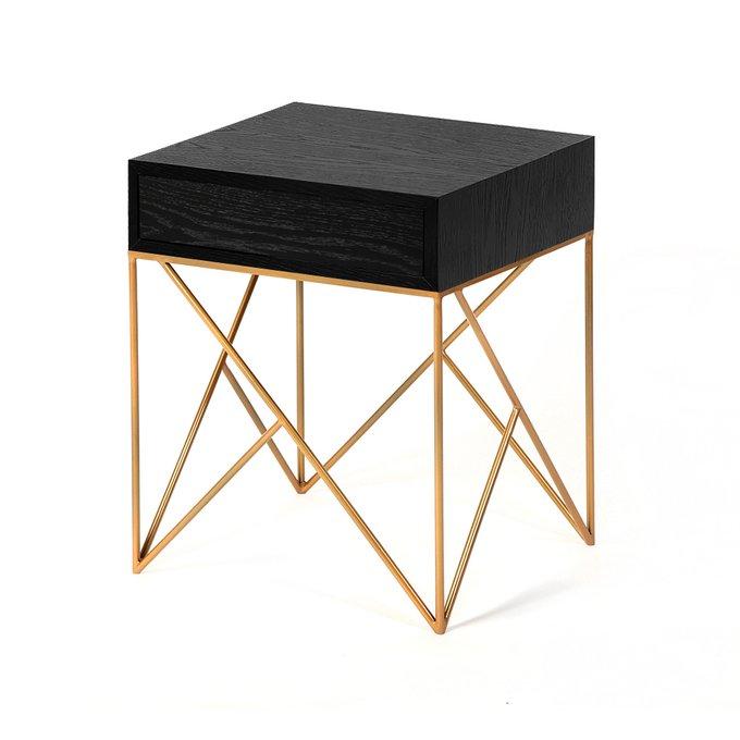 Прикроватная тумба с ящиком Prince box gold черный дуб