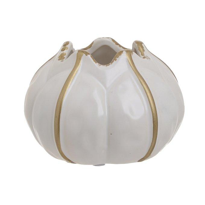 Керамическая ваза бело-золотого цвета