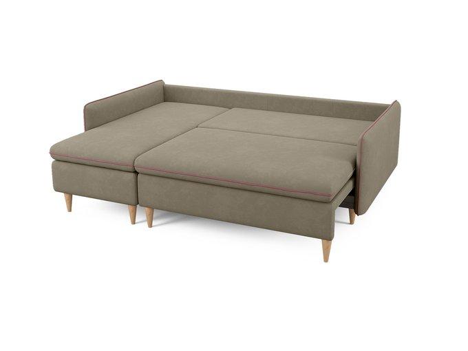 Угловой диван-кровать левый Ron бежево-серого цвета