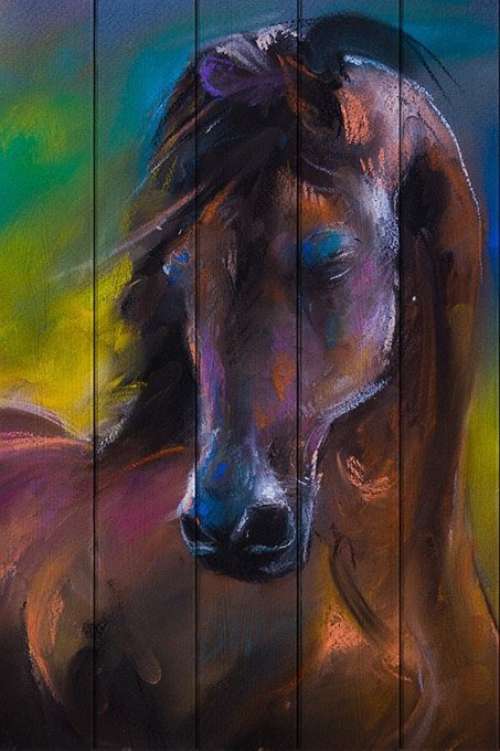 Картина на дереве Лошадь Акварель 120х80
