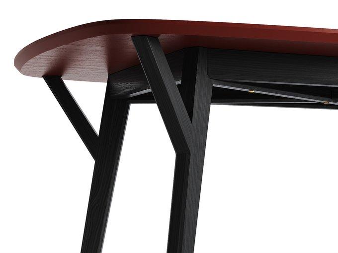 Обеденный стол Proso чёрный дуб / красно-коричневый
