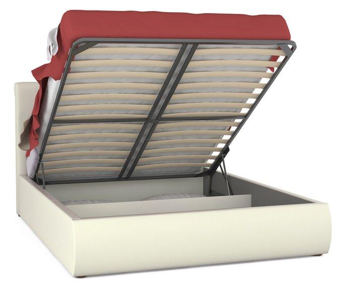 Кровать Тиффани белого цвета с подъемным ортопедическим основанием и дном 160х200