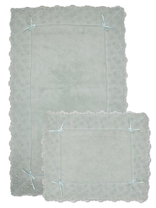 Набор из двух ковриков для ванной из хлопка светло-серого цвета