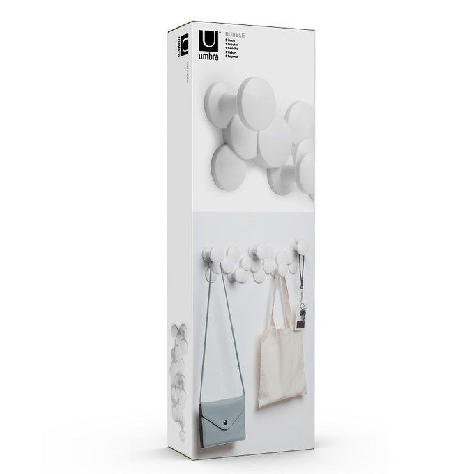 Вешалка настенная Bubble Hook белого цвета