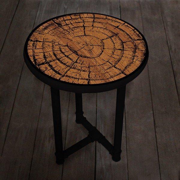 Прикроватный кофейный столик Пень черно-коричневого цвета