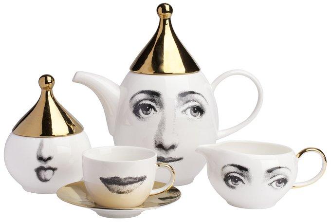 Чайный сервиз Faces Piero Fornasetti Gold на 4 персоны