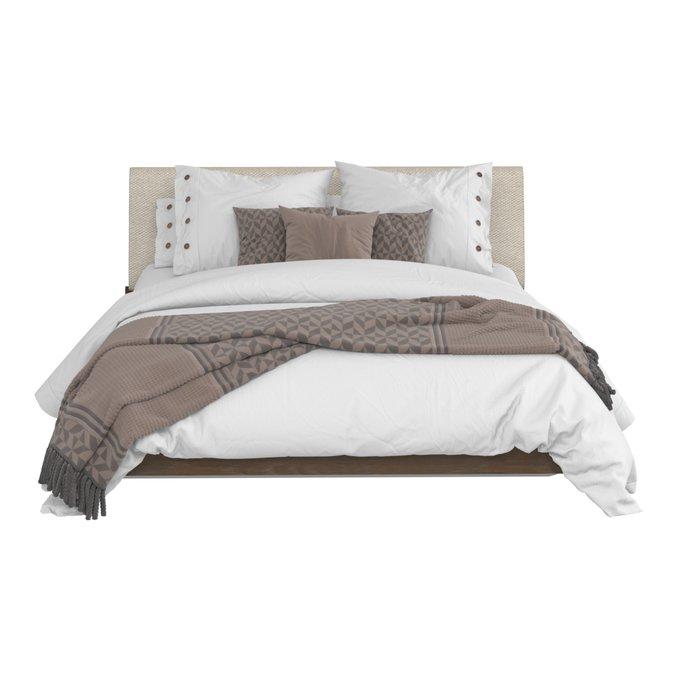 Кровать Сиена 140х200 с бежевым изголовьем