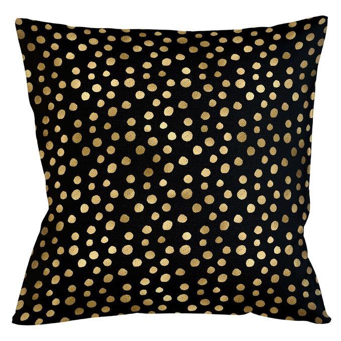 Интерьерная подушка Пятнистая черно-золотого цвета