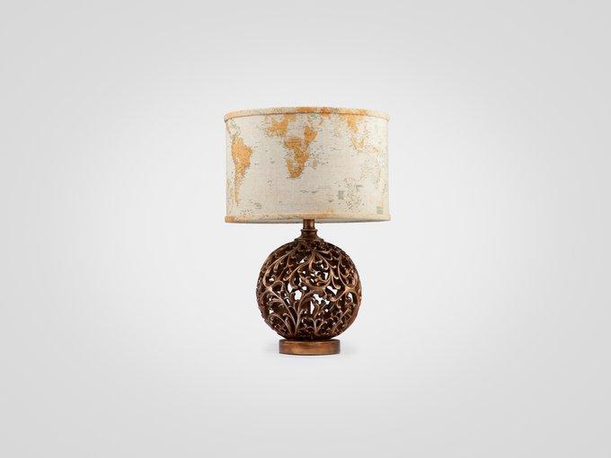 Лампа настольная на декоративной ножке медного цвета