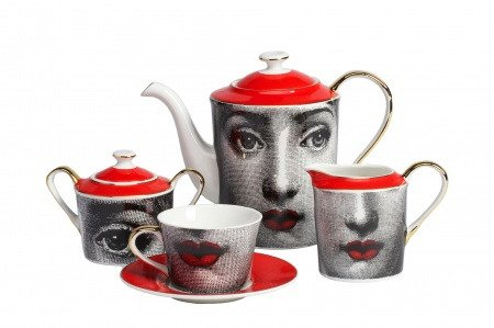Чайный сервиз Faces Piero Fornasetti Red