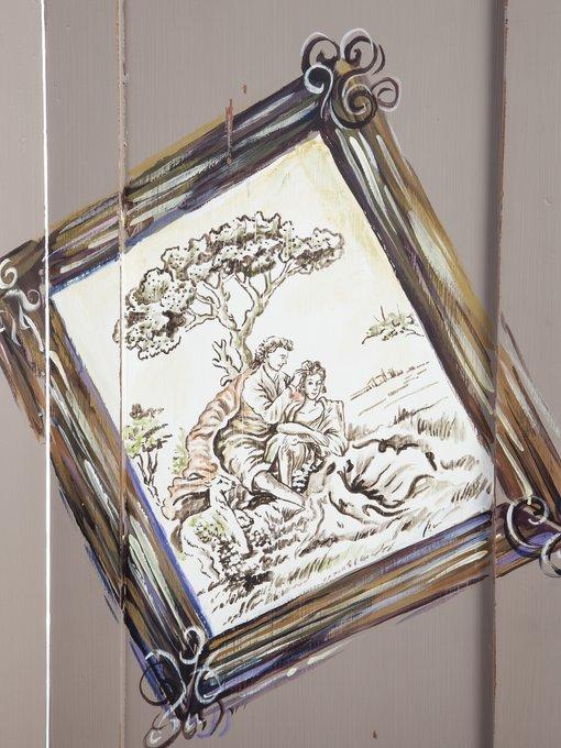 Ширма с ручной росписью декорирована старением 183x120x3 см