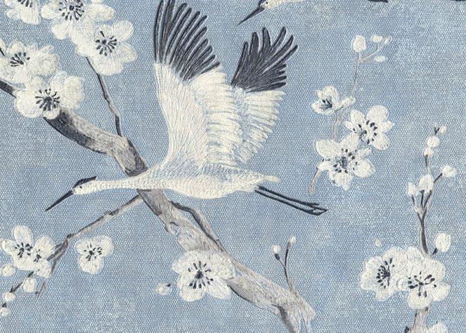 Обои Muralto Oasi Disegno Airone бело-голубого цвета