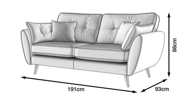 Прямой трехместный диван Элдон синего цвета