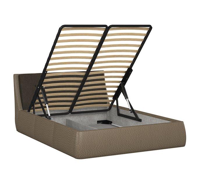 Кровать Гесиона 160х200 темно-коричневого цвета с подъемным механизмом