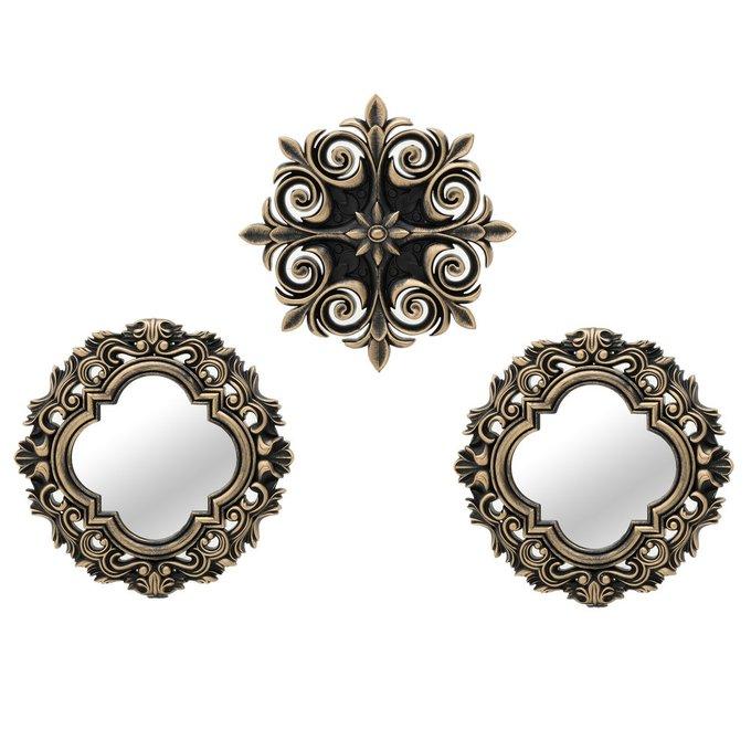 Набор из двух зеркал и декора черно-золотого цвета