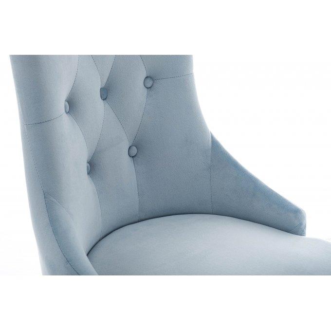 Стул Elegance с ножками из массива гевеи и обивкой из голубого велюра