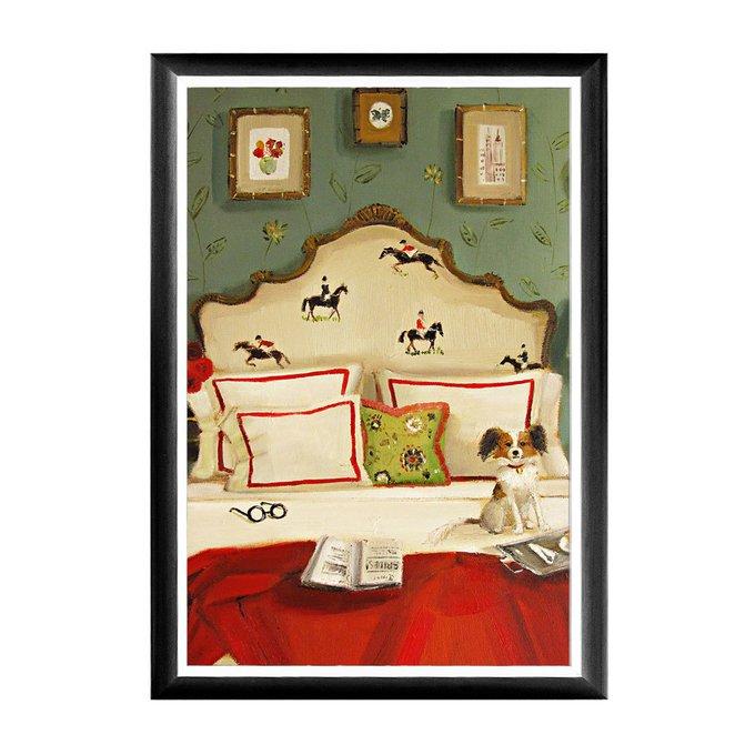 Арт-постер Красные розы и темные лошади