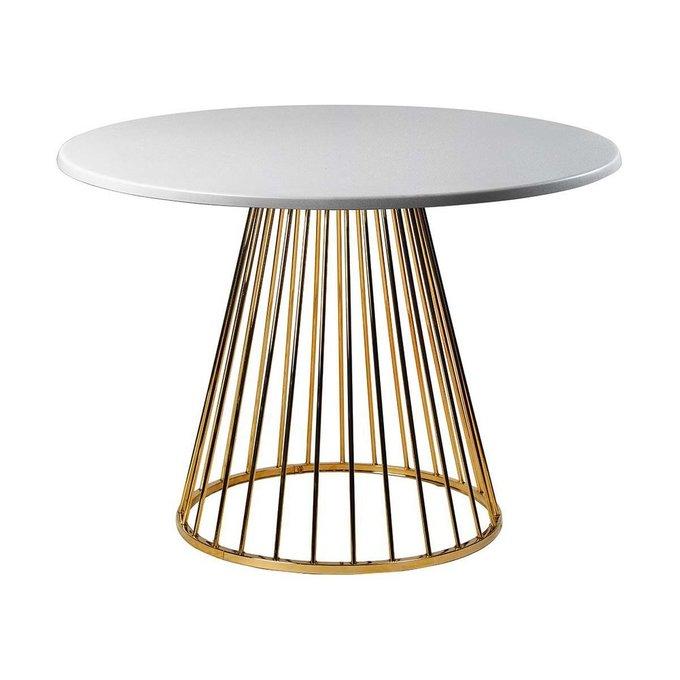 Обеденный стол Twister Matte Gold со столешницей серебряного цвета